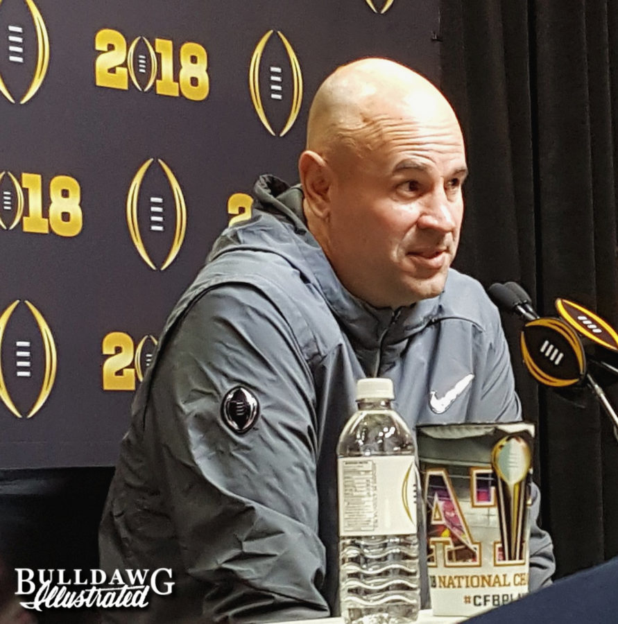 Jeremy Pruitt during Saturday's National Championship media day press conference, 2018-Jan-06