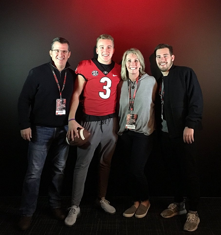 Alpharetta High School class of 2018 QB and PWO commit Matthew Downing (3) on a visit to UGA. (photo from Matthew Downing / Twitter)