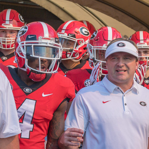 Kirby Smart leads team on field at LSU 2018