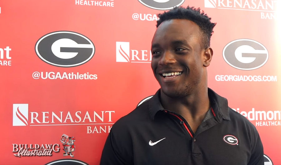 Monty Rice during Wednesday's post-practice interview