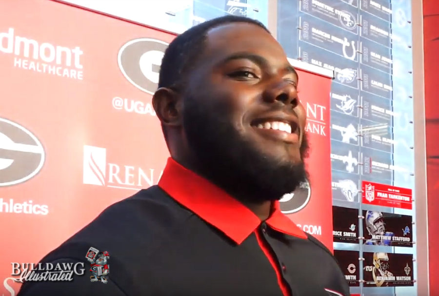 Georgia offensive tackle Andrew Thomas during Wednesday's post-practice interviews.