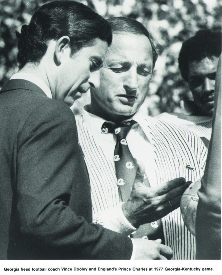 Vince Dooley with Prince Charles, 1977 Georgia vs. Kentucky game.
