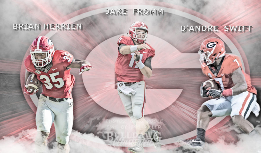 Brian Herrien, Jake Fromm, D'Andre Swift 2019 Georgia football edit by Bob Miller. Photos by Greg Poole.