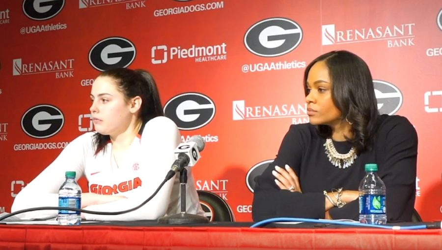 UGA women's basketball head coach Joni Taylor along with player Jenna Staiti during the Post-North Carolina A&T game interview, Wednesday, November 13, 2019