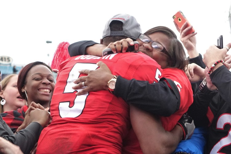 Mother and son celebrate; Terry Godwin and Olivia Godwin