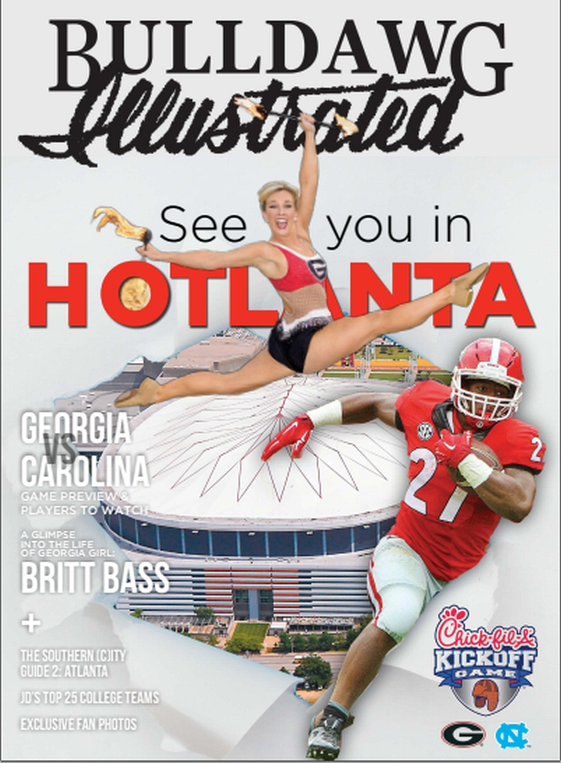 2016 Bulldawg Illustrated Issue 02 cover. COVER PHOTOS: Jameson Kenerly by Larry Petroff, Nick Chubb by Rob Saye, Georgia Dome by Zach Rolen (COVER DESIGN: Boyd Martin)