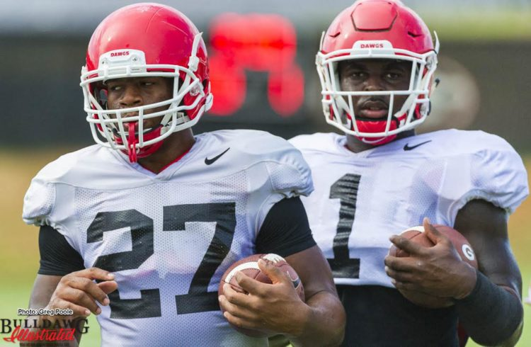 Nick Chubb (27) with fellow junior RB Sony Michel (1)