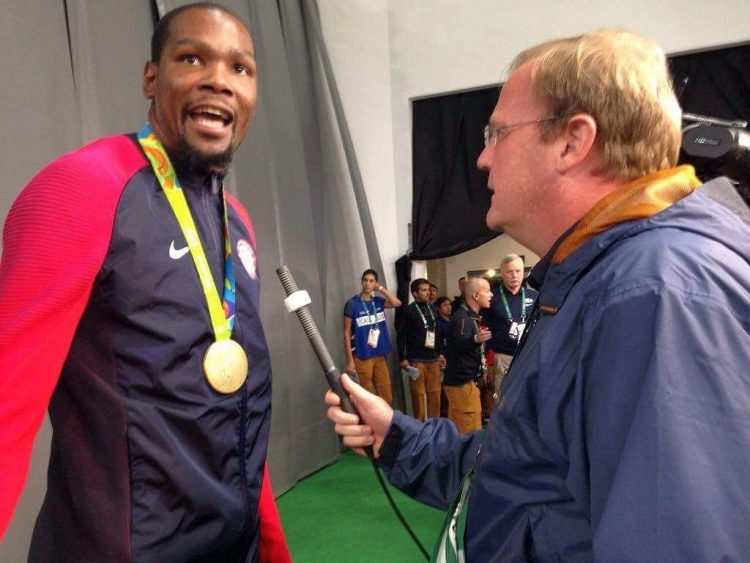 Jeff Dantzler interviewing Kevin Durant at RIO Olympics