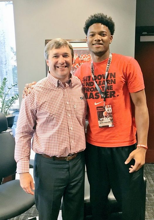 Nico Collins (right) with Georgia Head Coach Kirby Smart (photo Nico Collins-Twitter)