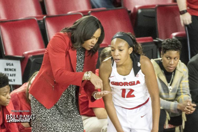 Georgia women's basketball Head Coach Joni Taylor and junior guard Haley Clark (12)