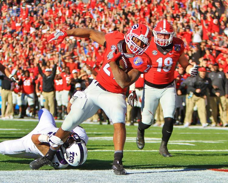 Nick Chubb Q4 TD - Liberty Bowl - Dawgs 31 TCU 23