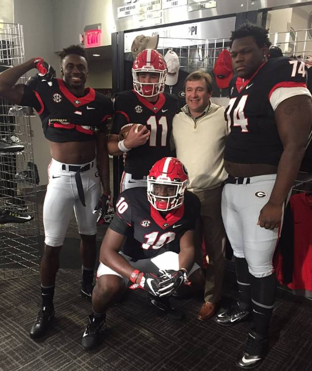 Jeremiah Holloman (1), Malik Herring (10), Jake Fromm (11), and Isaiah Wilson (74) with Georgia Head Coach Kirby Smart (photo from Jake Fromm - Twitter)