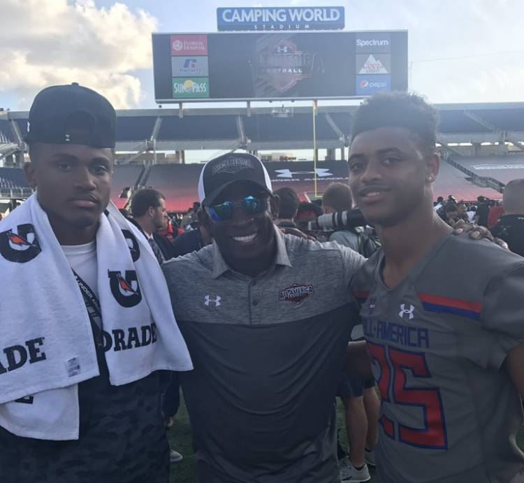 AJ Terrell (right), Deion Sanders (middle), Myles Sims (left) (photo from AJ Terrell - Twitter)