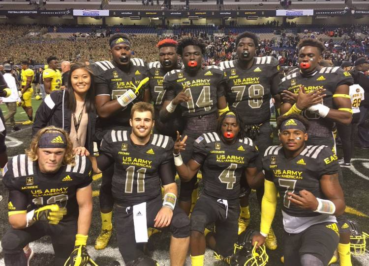 (back row) Andrew Thomas (54), Netori Johnson (72), Tray Bishop (14), D'Antne Demery (78), and Jeremiah Holloman (18) - (front row) Nate McBride (13), Jake Fromm (11), Richard LeCounte (4), D'Andre Swift (7) (photo from Jeremiah Holloman - Twitter