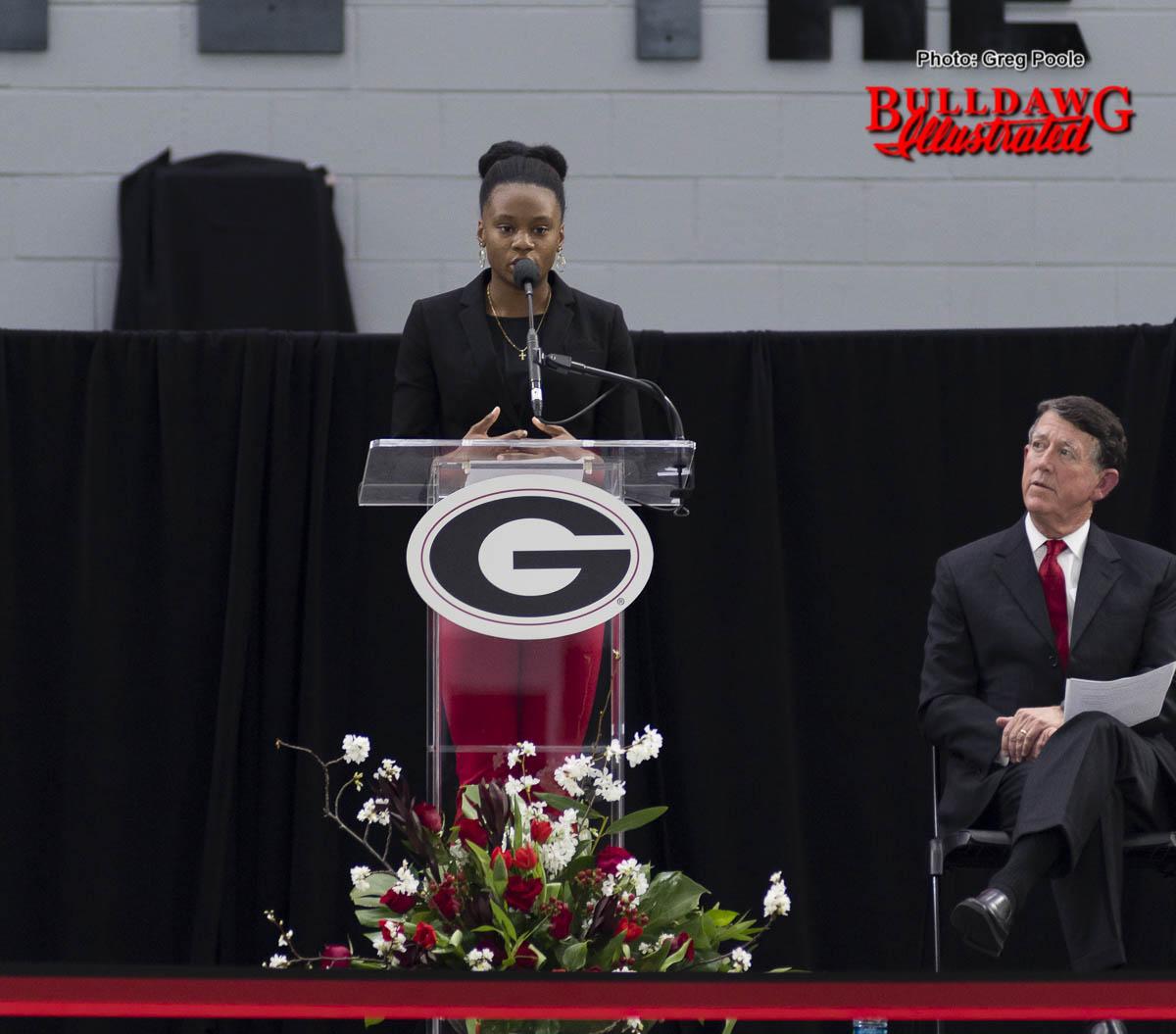 Keturah Orji speaks at UGA's Indoor Athletic Facility dedication on Feb. 14, 2017
