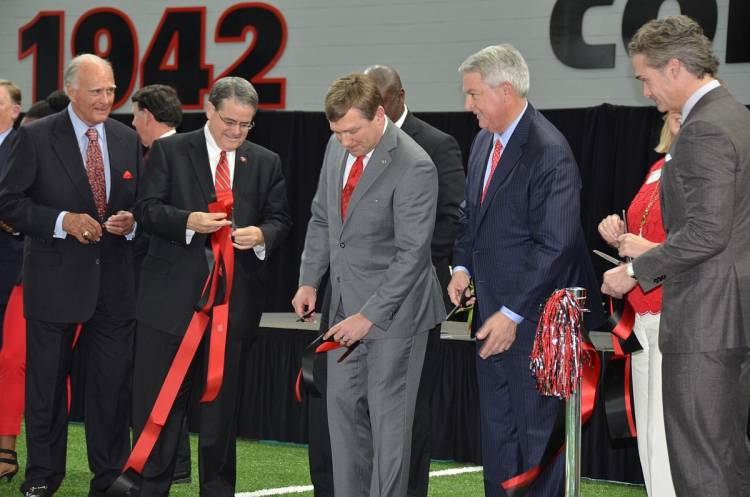 The Indoor Athletic Facility is officially open - Don Leebern, Jere Morehead, Kirby Smart, Kessel Stelling and Don Leebern, III