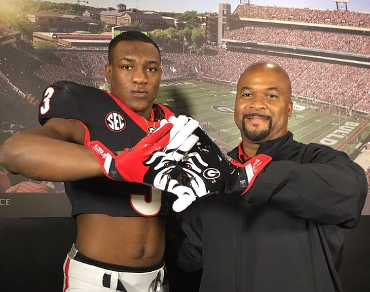 Zamir White with Georgia RB Coach Dell McGee (photo from Zamir White - Twitter)