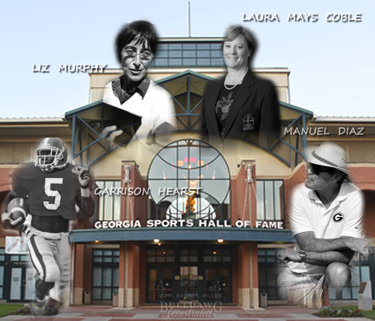 Garrison Hearst, Liz Murphey, Laura Mays Coble, and Manuel Diaz GA Sports Hall of Fame Edit - Photos from Georgia Sports Communications (Edit by Bob Miller)