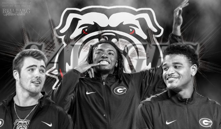 Jake Fromm, Richard LeCounte, and DeAngelo Gibbs (Photos by Greg Poole, Edit by Bob Miller)