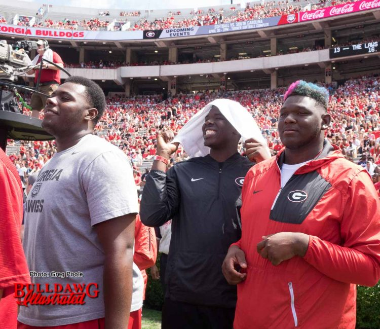 Georgia 2017 o-line signees Andrew Thomas (left), D'Antne Demery (middle) and Netori Johnson (right)