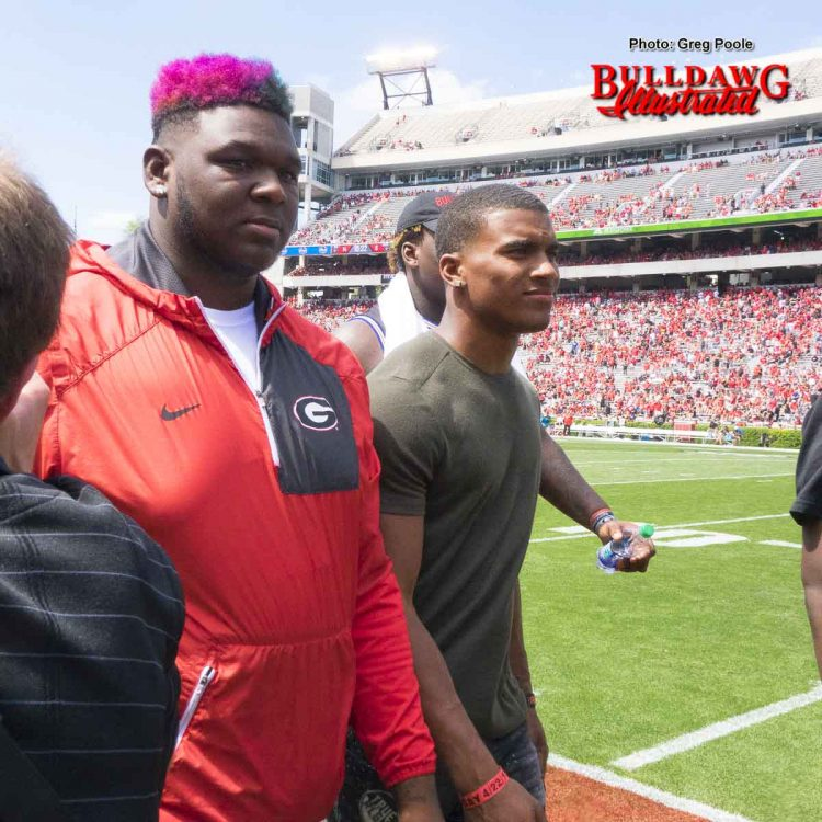 2017 o-line signee Netori Johnson (left) – G-Day 2017