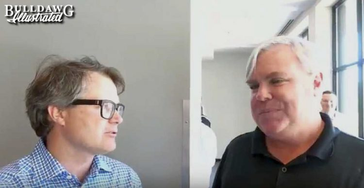 Vance Leavy (left) interviewing UGA men's golf Assoc. Head Coach Jim Douglas (right)