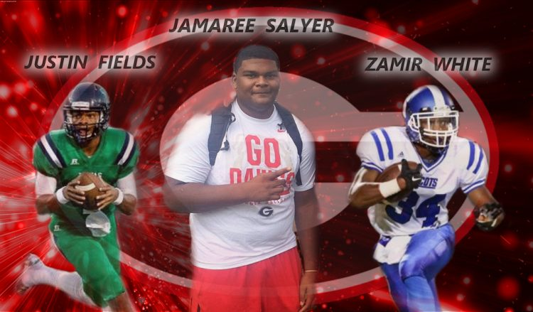 Justin Fields, Jamaree Salyer, and Zamir White edit by Bob Miller/Bulldawg Illustrated