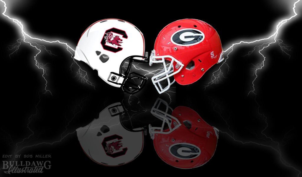 UGA vs. South Carolina helmet edit by Bob Miller