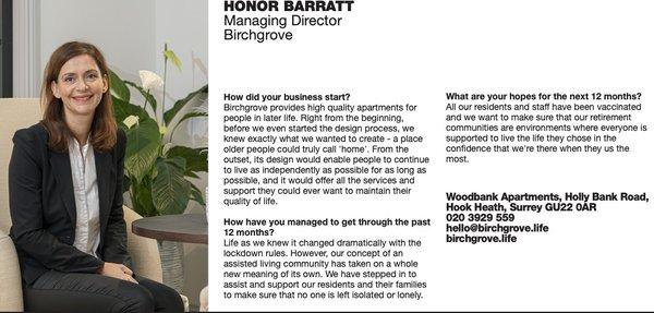 Honor Barratt - Surrey Leading Ladies