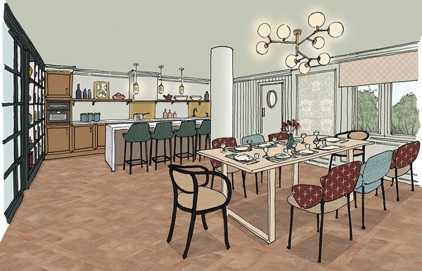 Birchgrove Woking Dining Room Sketch