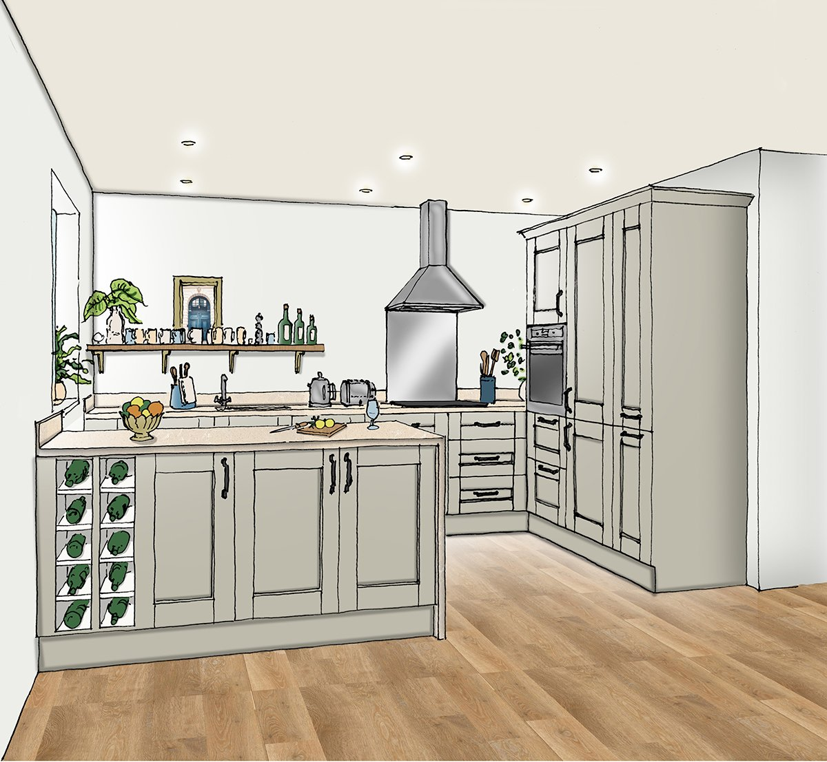 Birchgrove Woking Kitchen Sketch