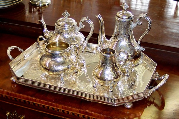 Exquisite Antique English Sheffield silver plate u201cbright cutu201d hand engraved Tea u0026 Coffee set on a 19th centuryGallery Tray & Exquisite Antique English Sheffield silver plate u201cbright cutu201d hand ...