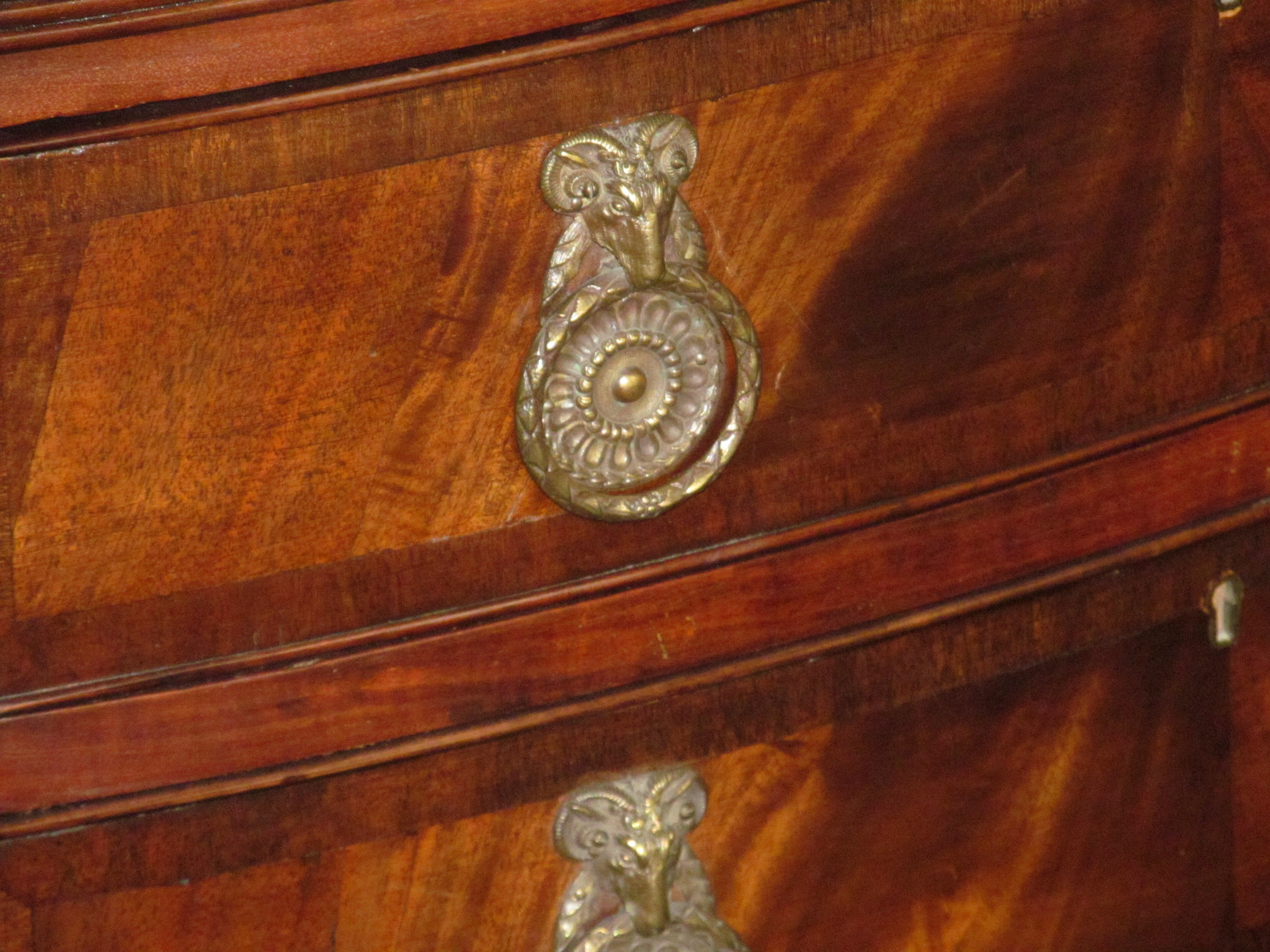 Antique English Crotch Mahogany Serpentine Front Hepplewhite Style ...