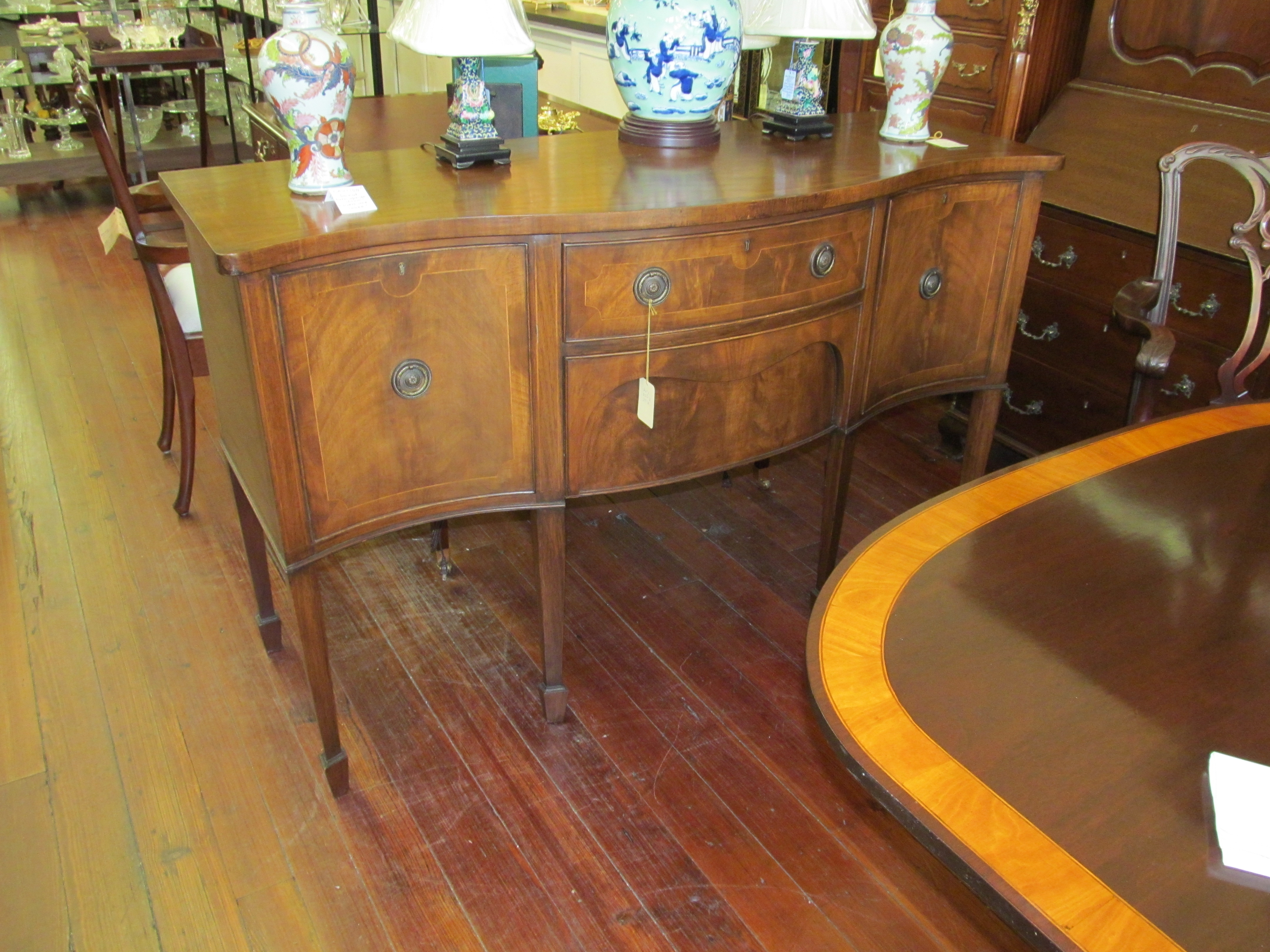 Old English Inlaid Mahogany Hepplewhite Style Serpentine Sideboard