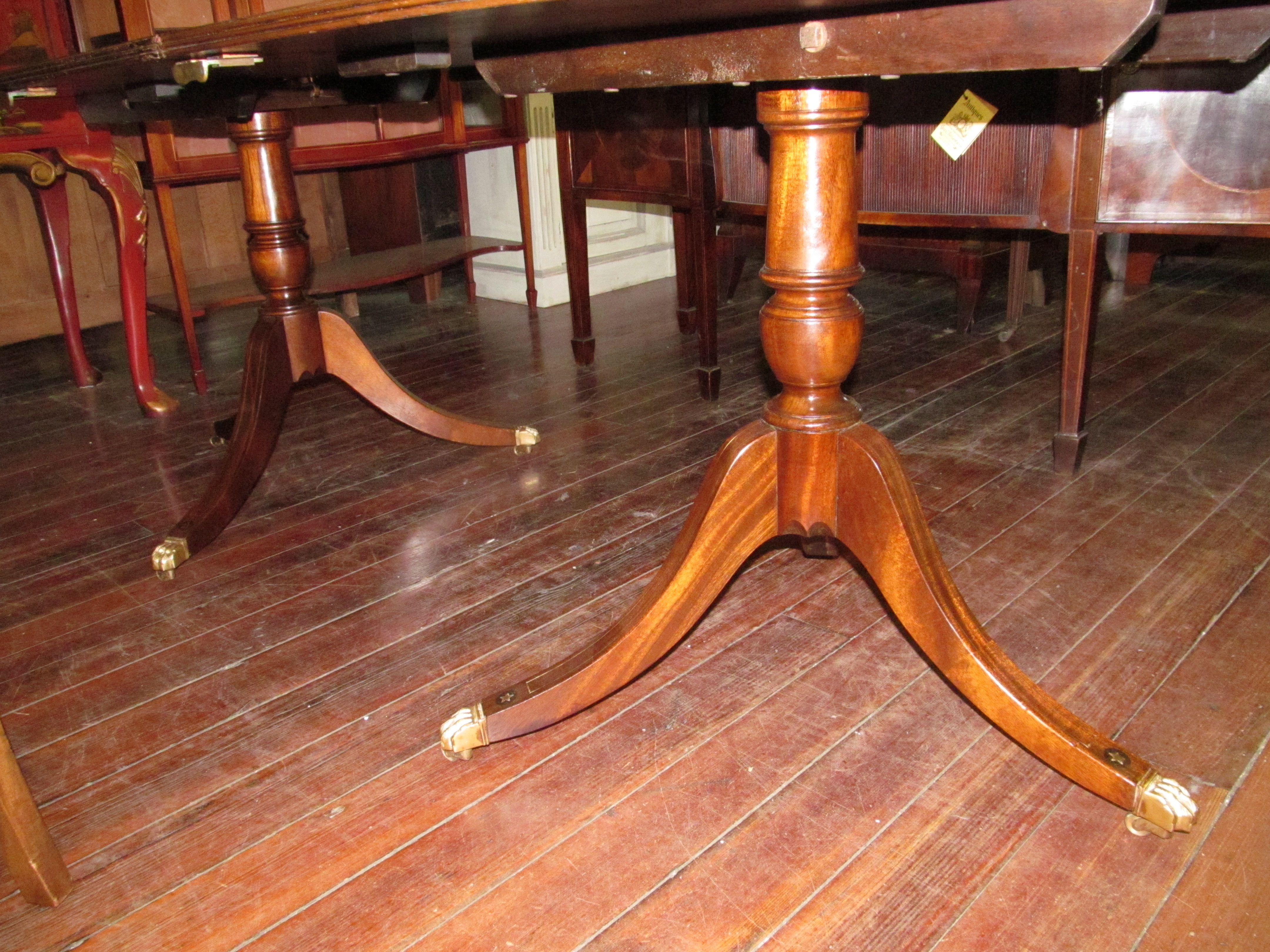 Inlaid Dining Table Old English Brass Inlaid Bookmatched Crotch Mahogany Regency Style