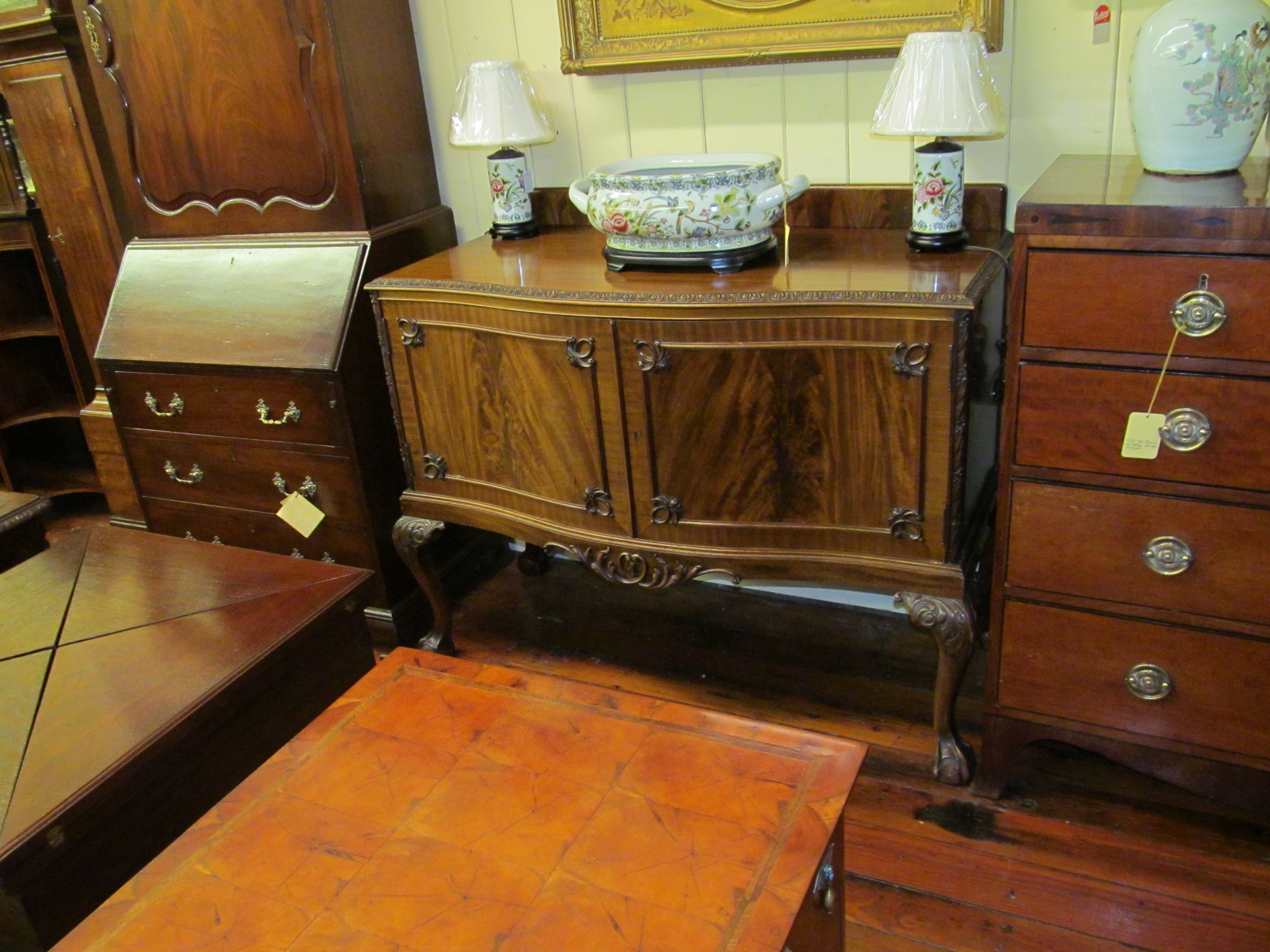 Mahogany Carved Chippendale Style Sideboard George C Birlant And