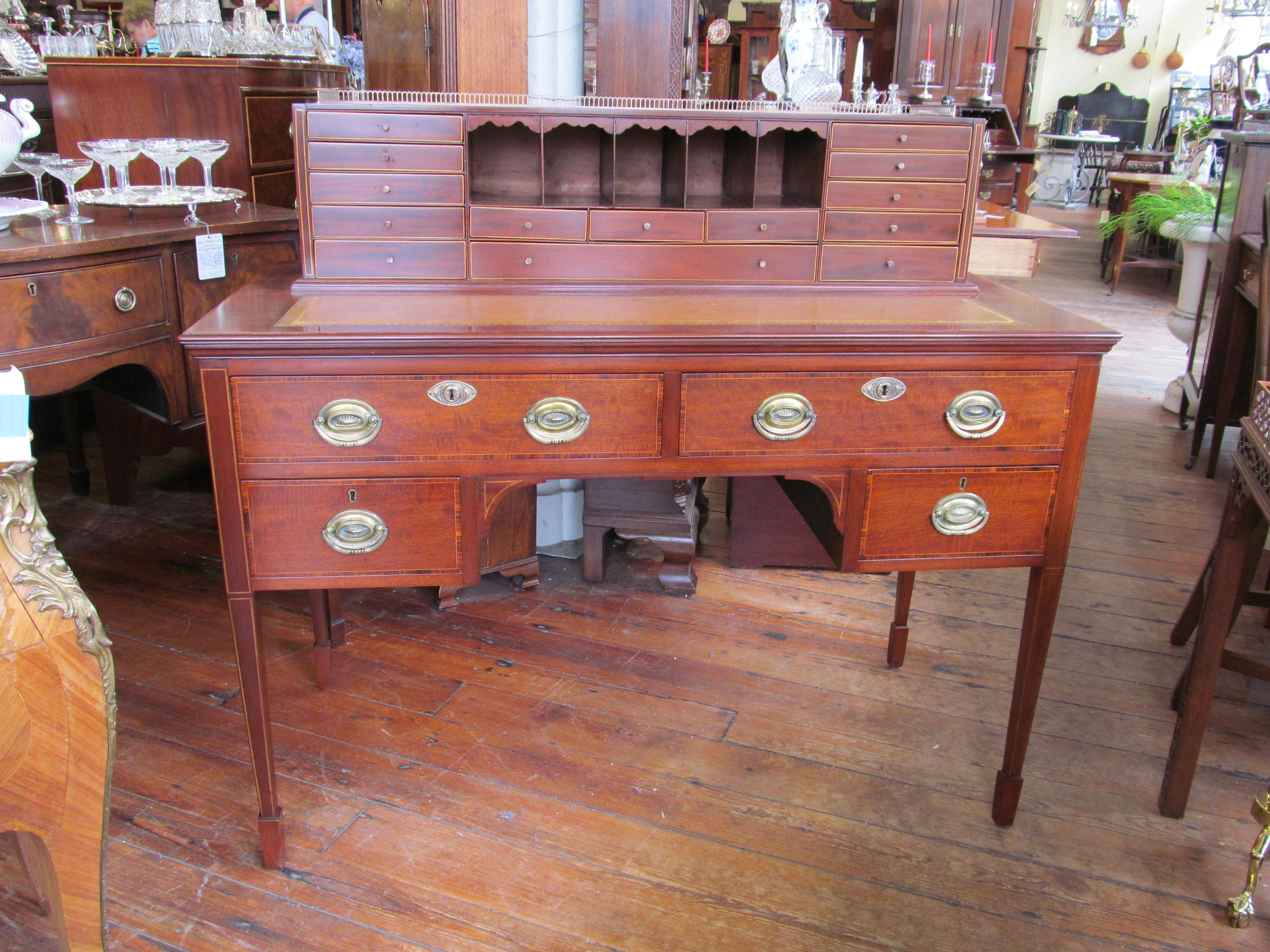 Antique English Inlaid Mahogany Hepplewhite Style Writing Desk