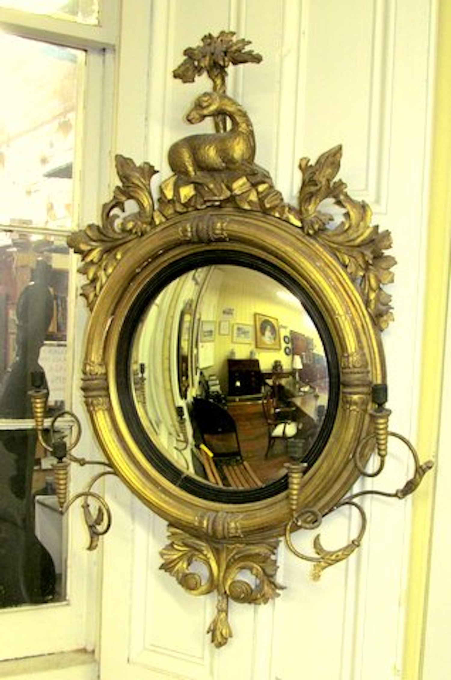 Antique American Gilt Wood And Gesso Convex Mirror Candle