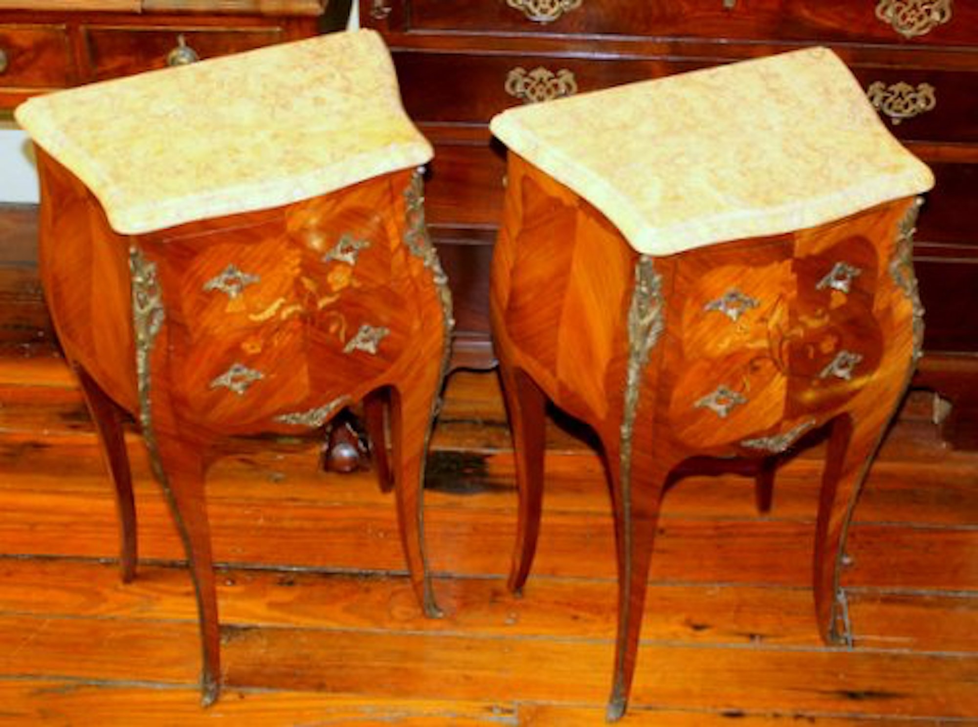 PAIR Of Old French Marquetry Inlaid Kingwood Chair Side Or Bedside Table