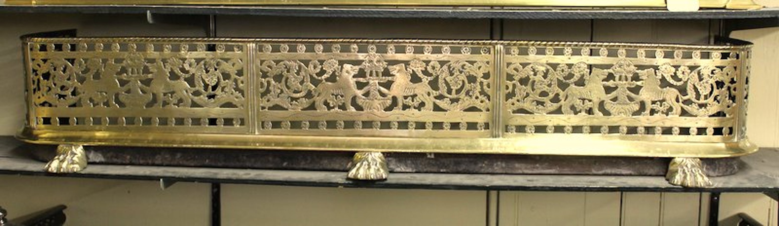 Marvelous Antique English George Iii Pierced And Engraved Brass Fireplace Fender Download Free Architecture Designs Ferenbritishbridgeorg