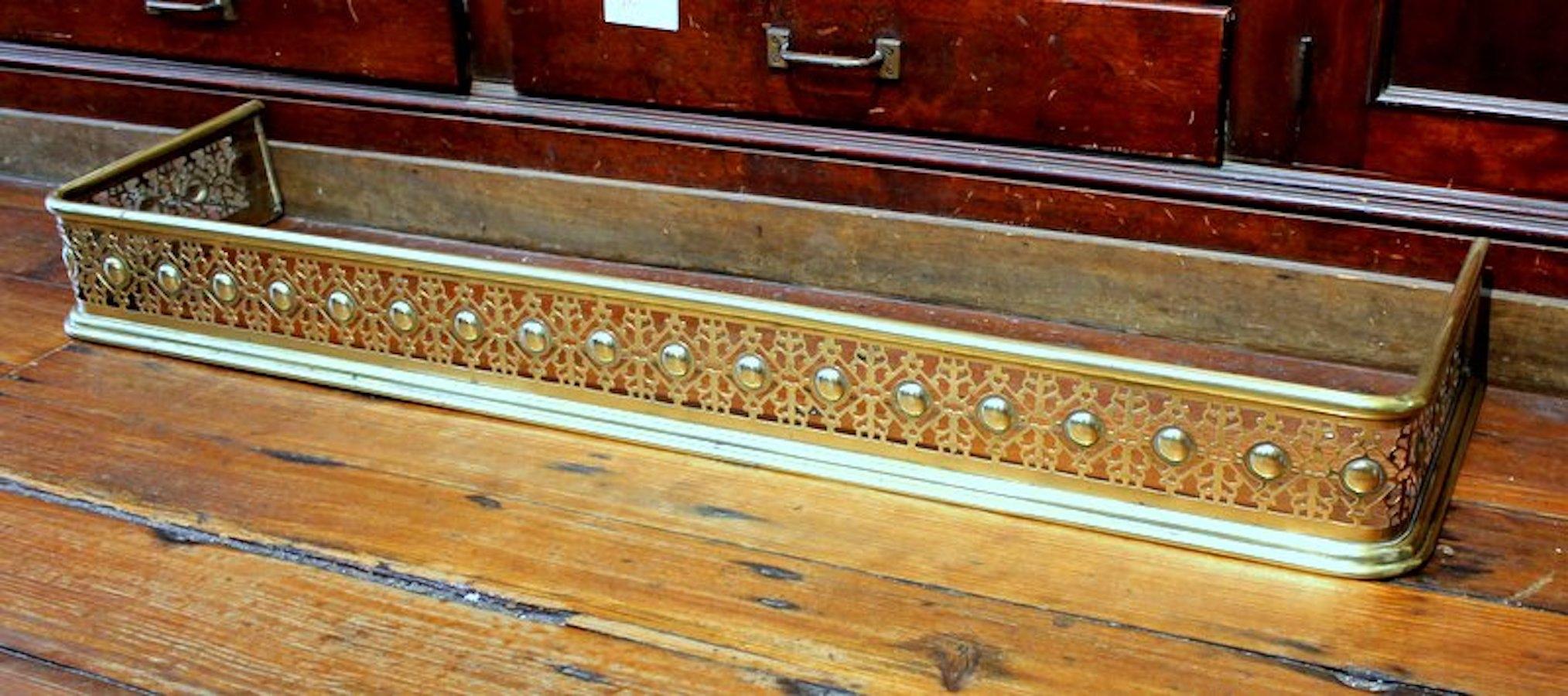 Antique English Pierced Brass Fireplace Fender George C Birlant