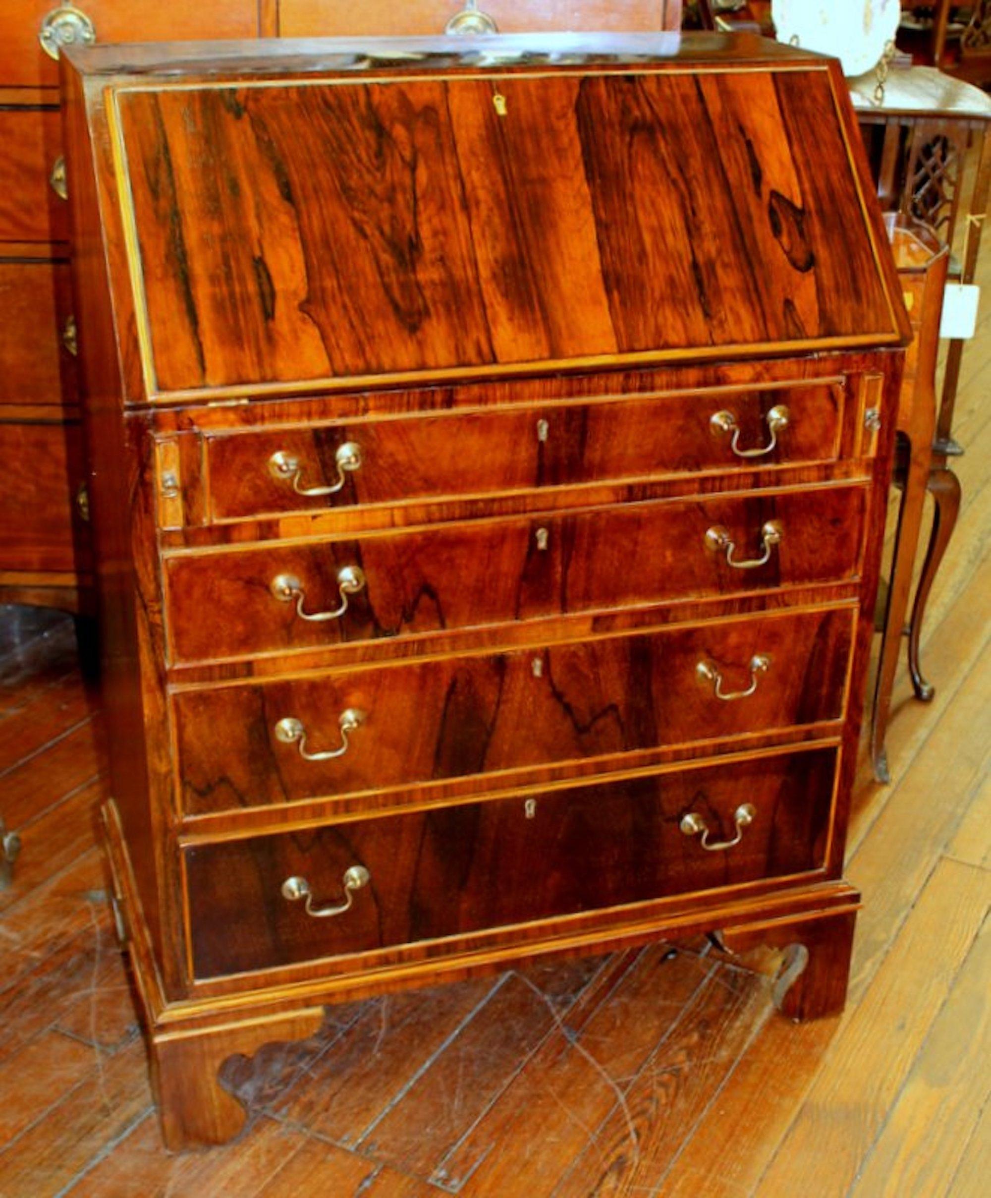 bureau english Antique English Rosewood Diminutive Size Slant-front Bureau