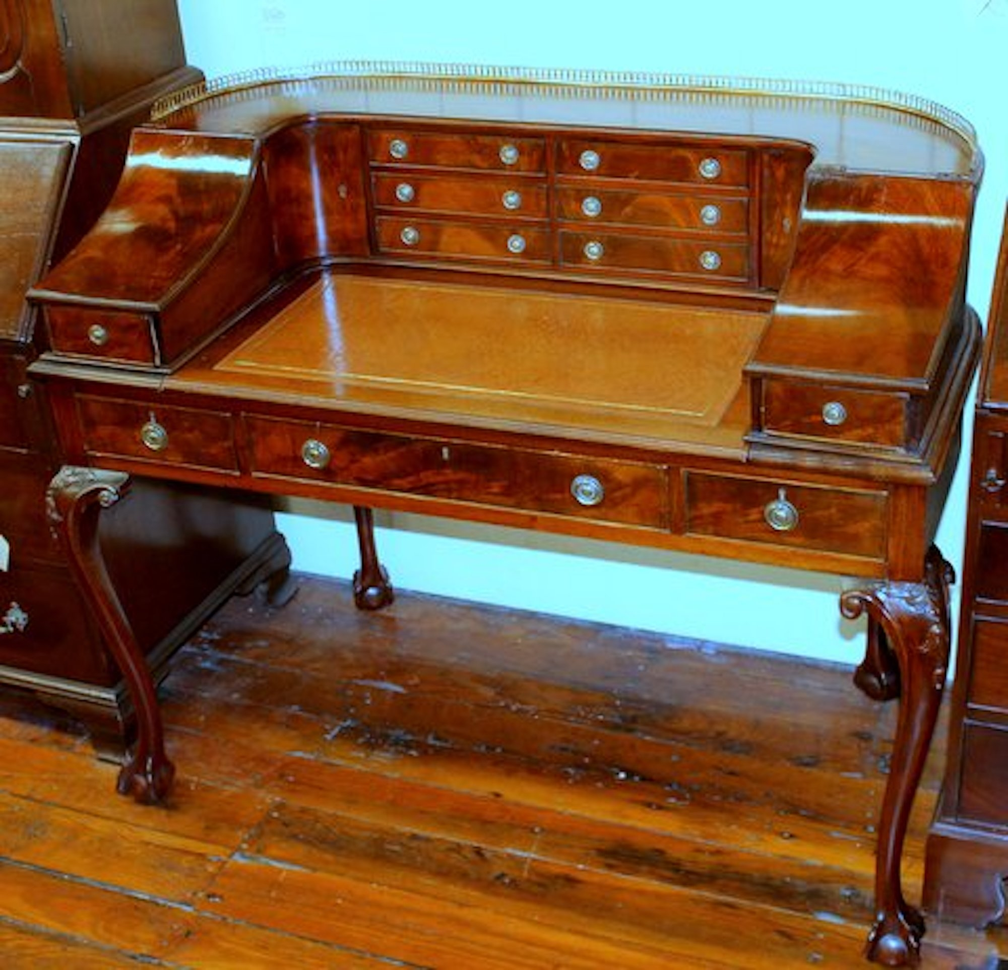 Antique English Chippendale Style Hand Carved Flame Mahogany Carlton House  Desk