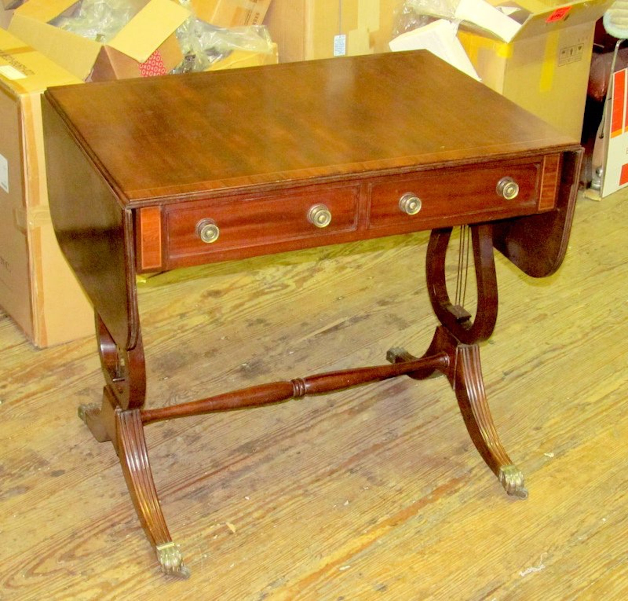 Antique english george iv inlaid mahogany regency drop leaf sofa table watchthetrailerfo