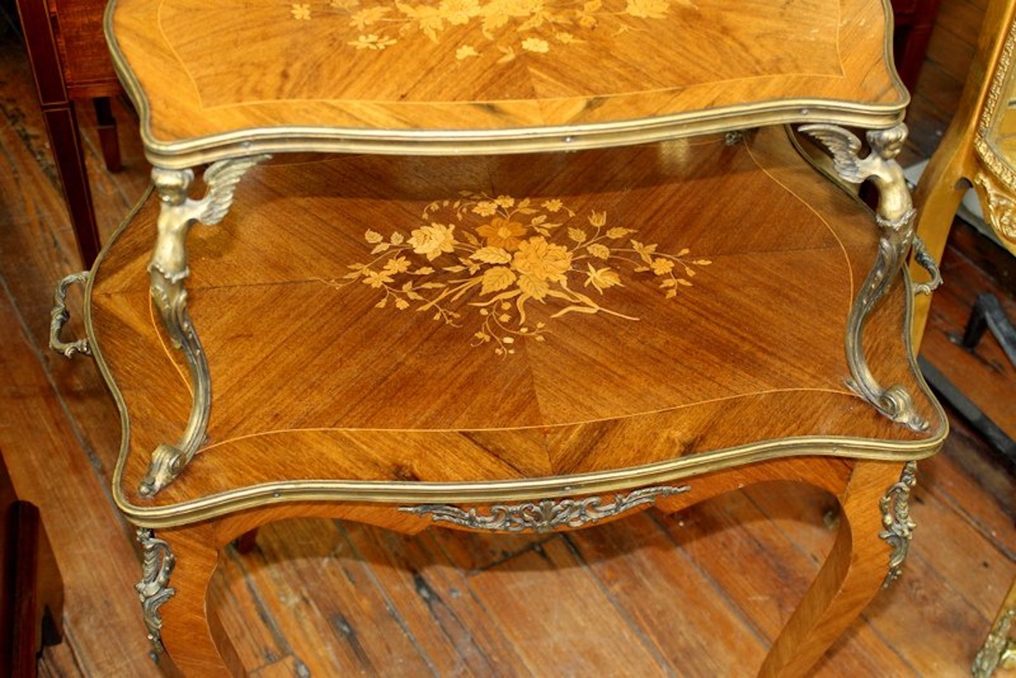 Old French Marquetry Inlaid Kingwood Louis XV Style 2 Tier Dessert Or Tea  Table