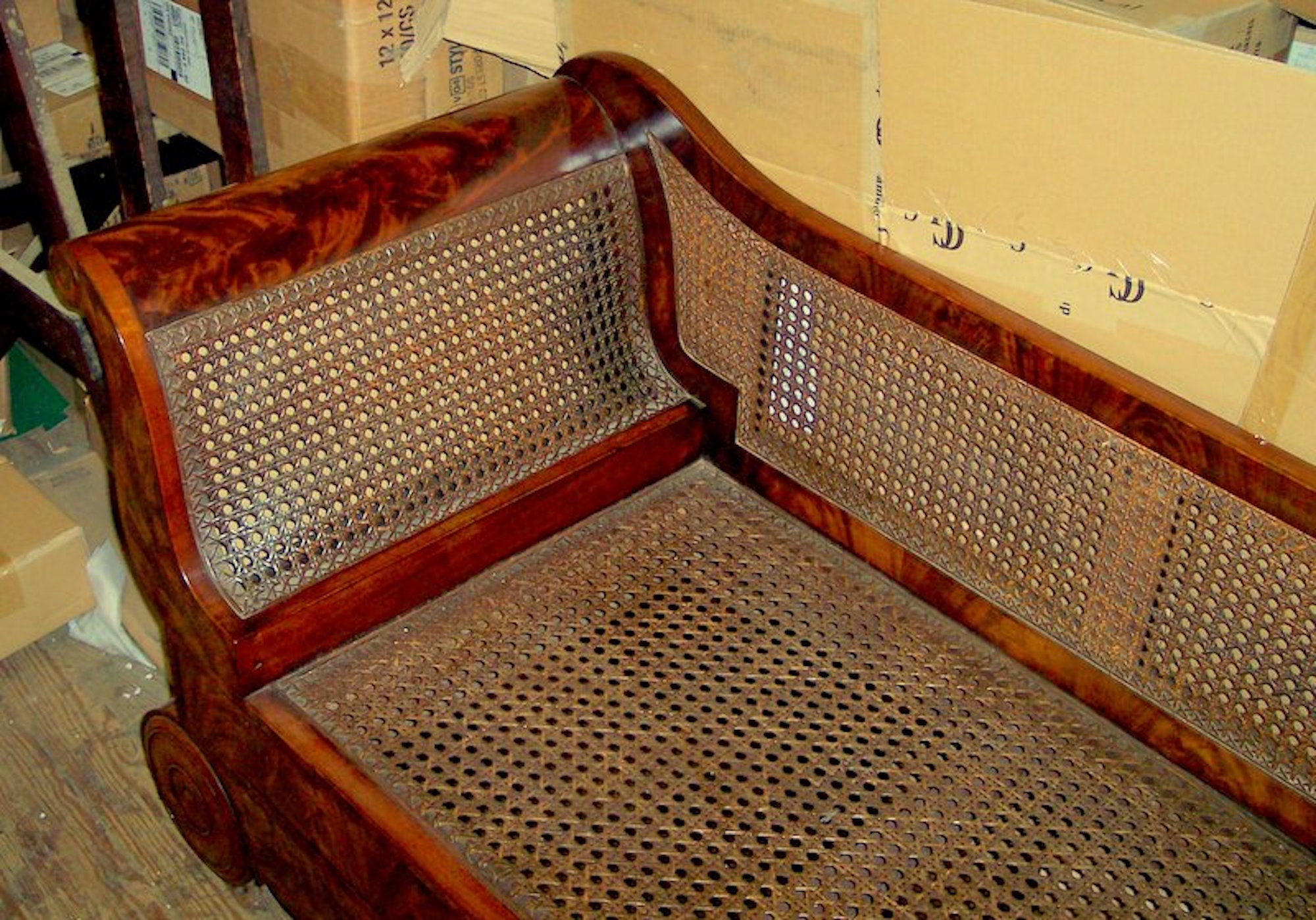 Antique American Flame Mahogany And Cane Empire Period