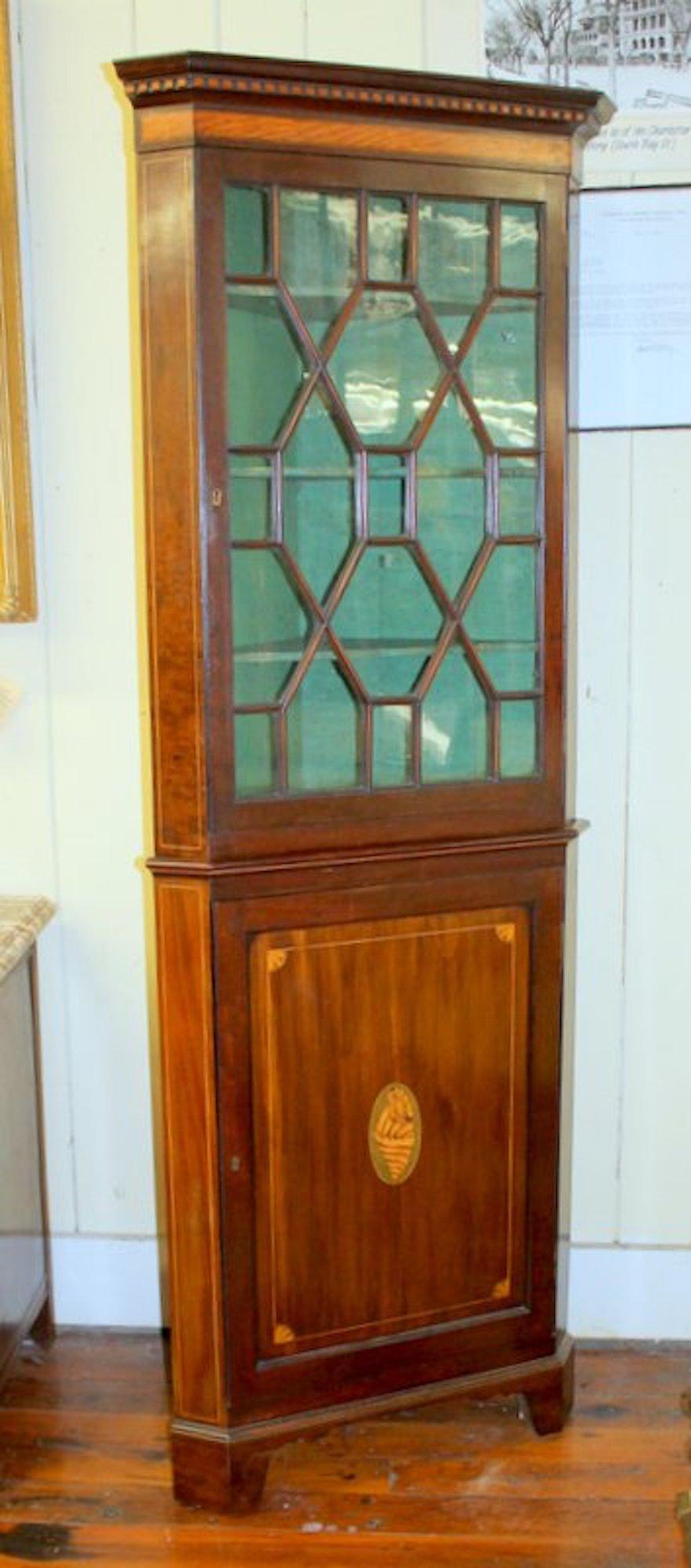 antique english inlaid mahogany georgian style corner cupboard - Antique Cupboard