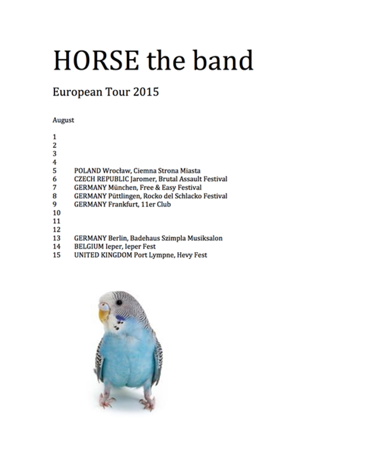 HORSE the band Tour Dates