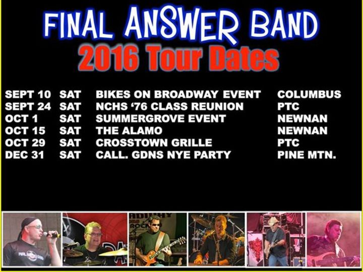 Final Answer Band Tour Dates