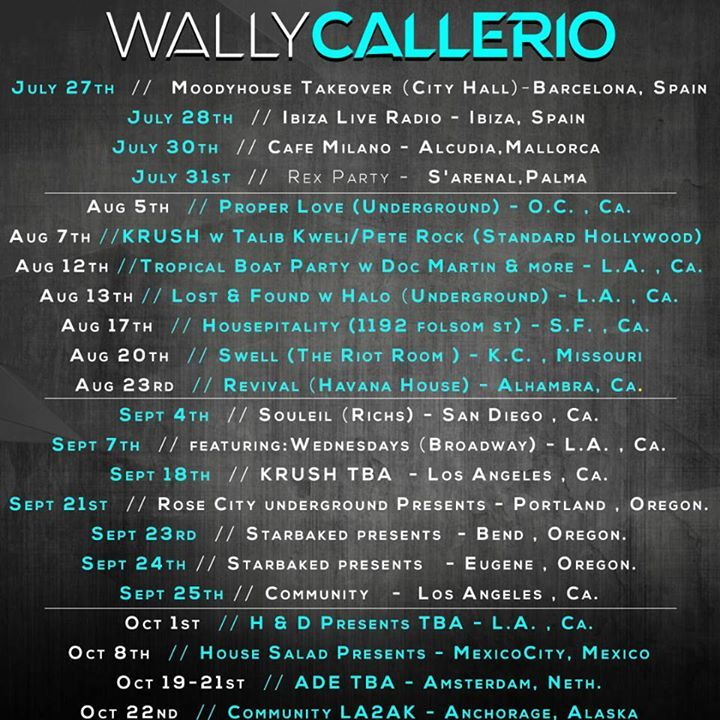 Wally Callerio Tour Dates